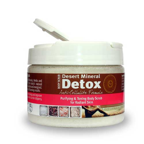 Extended Vacation's Desert Mineral Detox is a super-charged, exfoliating body scrub with micronized volcanic ash. This product is available at Tantrum Sunless Tanning.