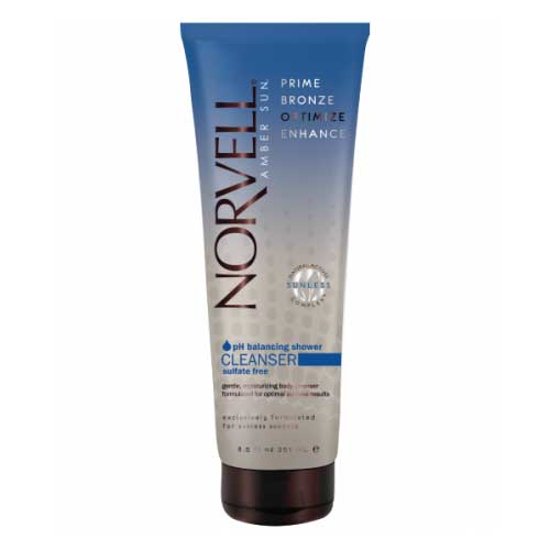Norvell pH Balancing Shower Cleanser gently cleanses skin while preserving the integrity of your airbrush tan. Product available at Tantrum Sunless Tanning.